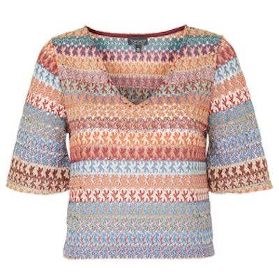 Crochet Flared-Sleeve Top