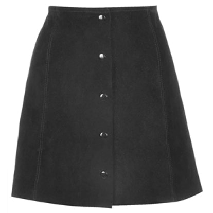 Suede Button Down Front A-Line Skirt