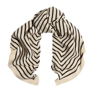 Striped Silk Faille Scarf
