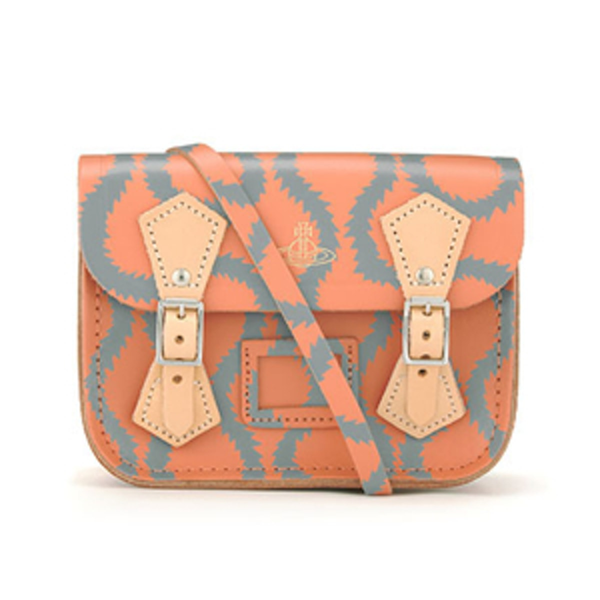 Coral/Gray Squiggle Tiny Satchel