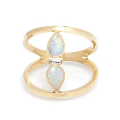 Open-Bar Ring with Teardrop Opals and Diamond Baguette