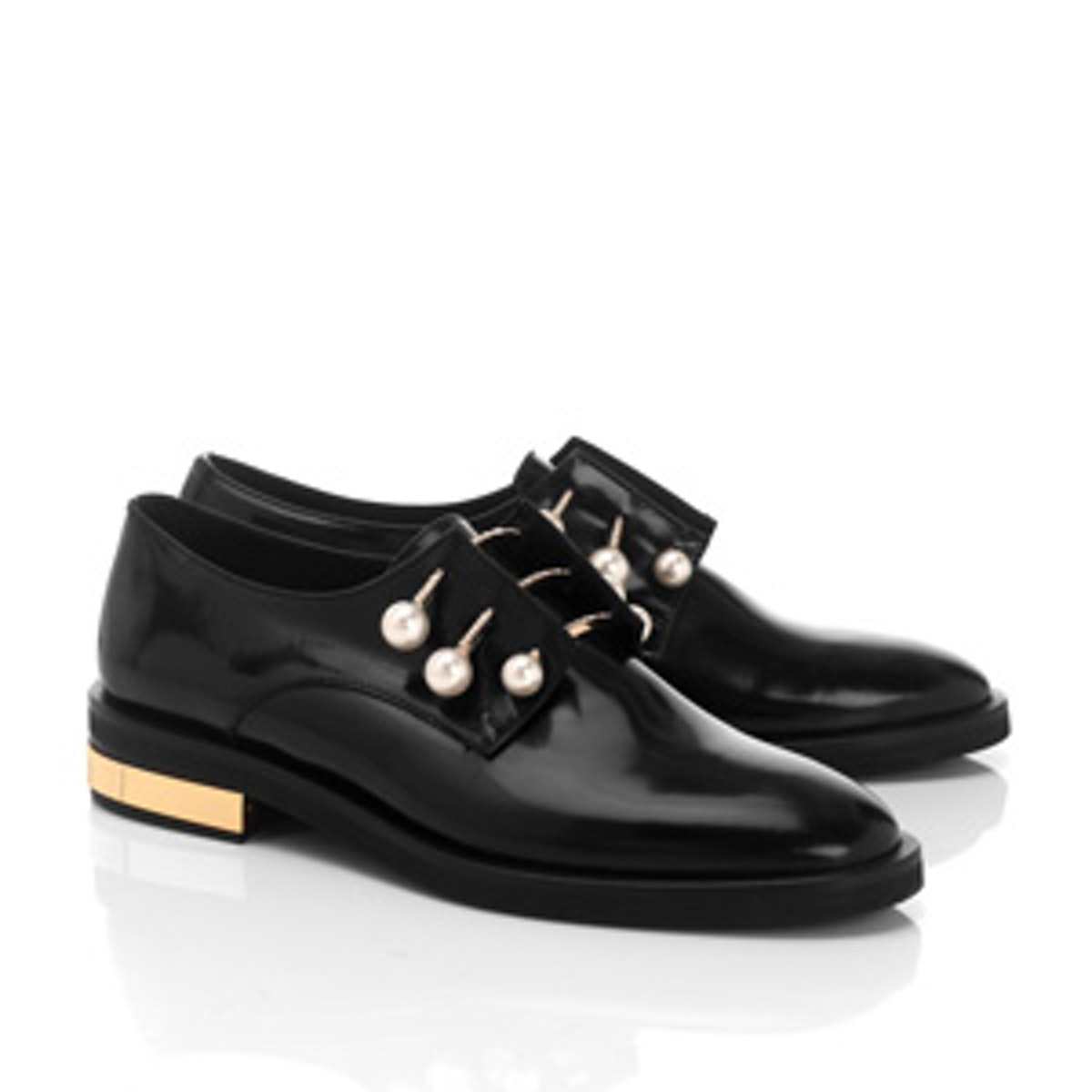 Black Leather Derby Fernanda Shoes