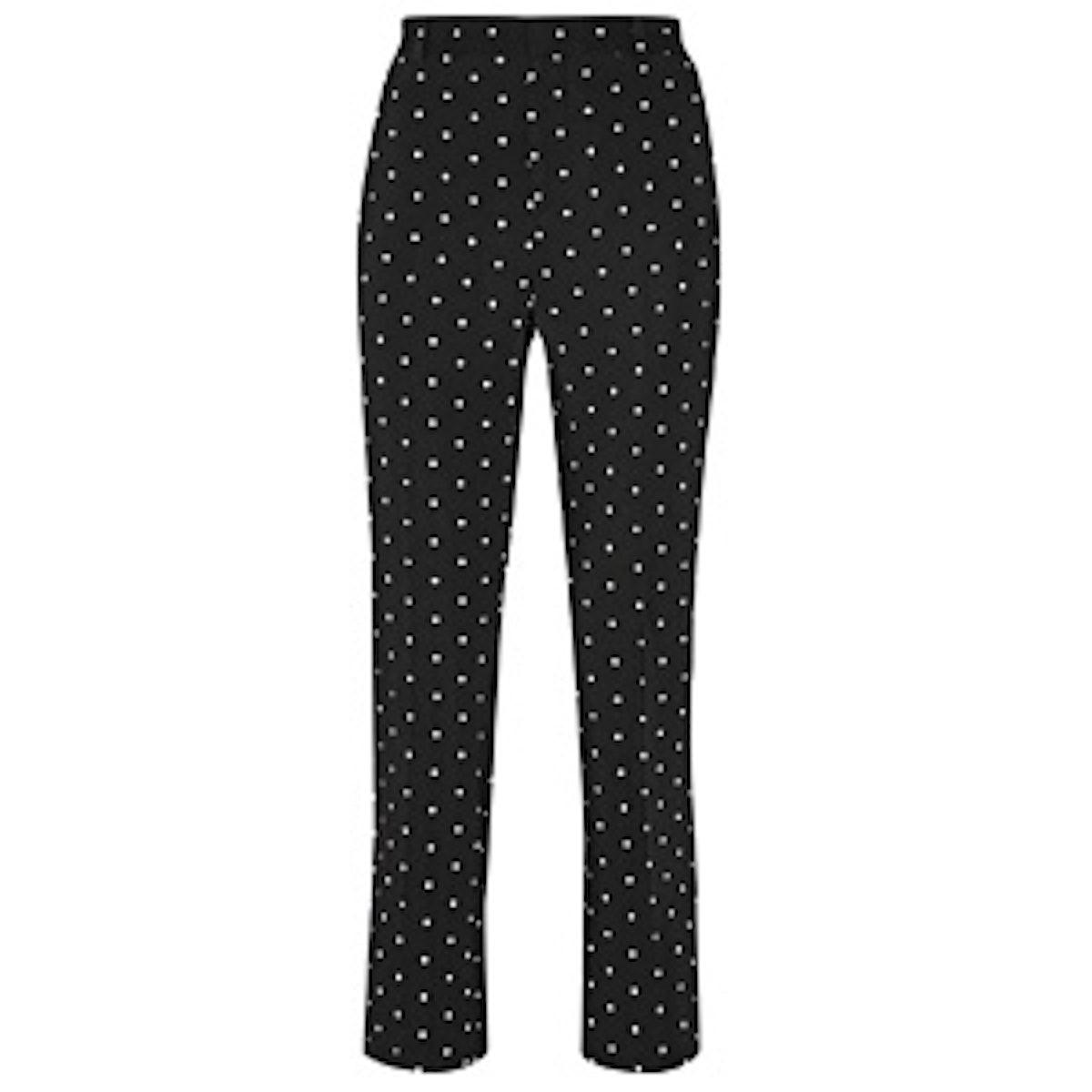 Pants In Cross-Print Black Cady