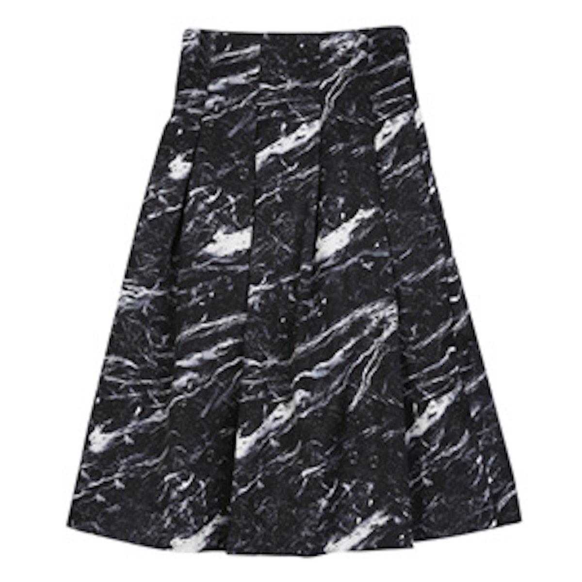 High-Waist Marble Print Skirt