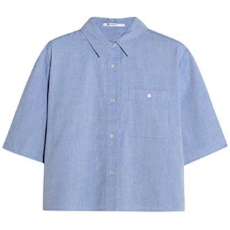 Cropped Cotton-Chambray Shirt