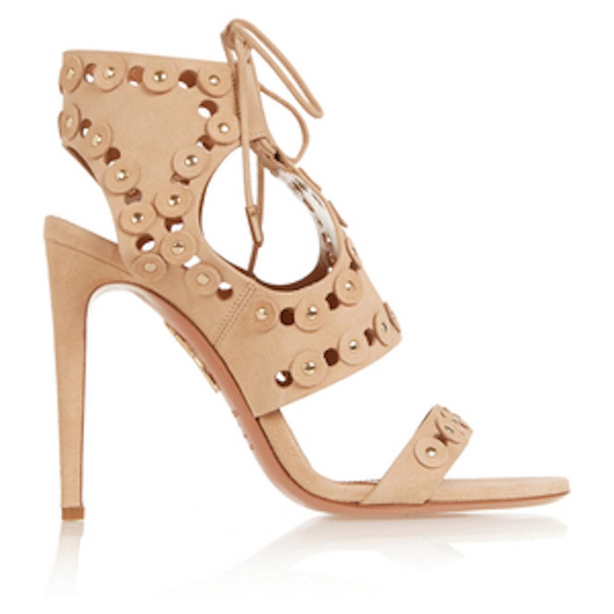 Rebel Studs Cutout Suede Sandals