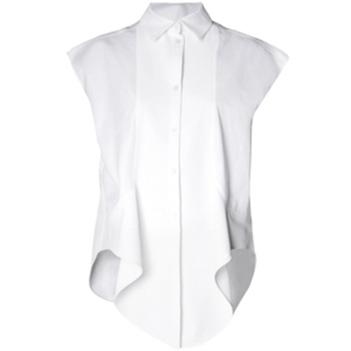 Ruffle-Front Capped-Sleeve Shirt