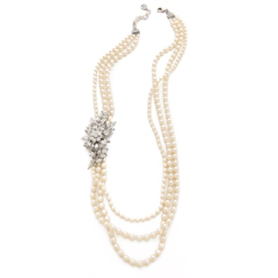 Crystal Flower Imitation Pearl Necklace