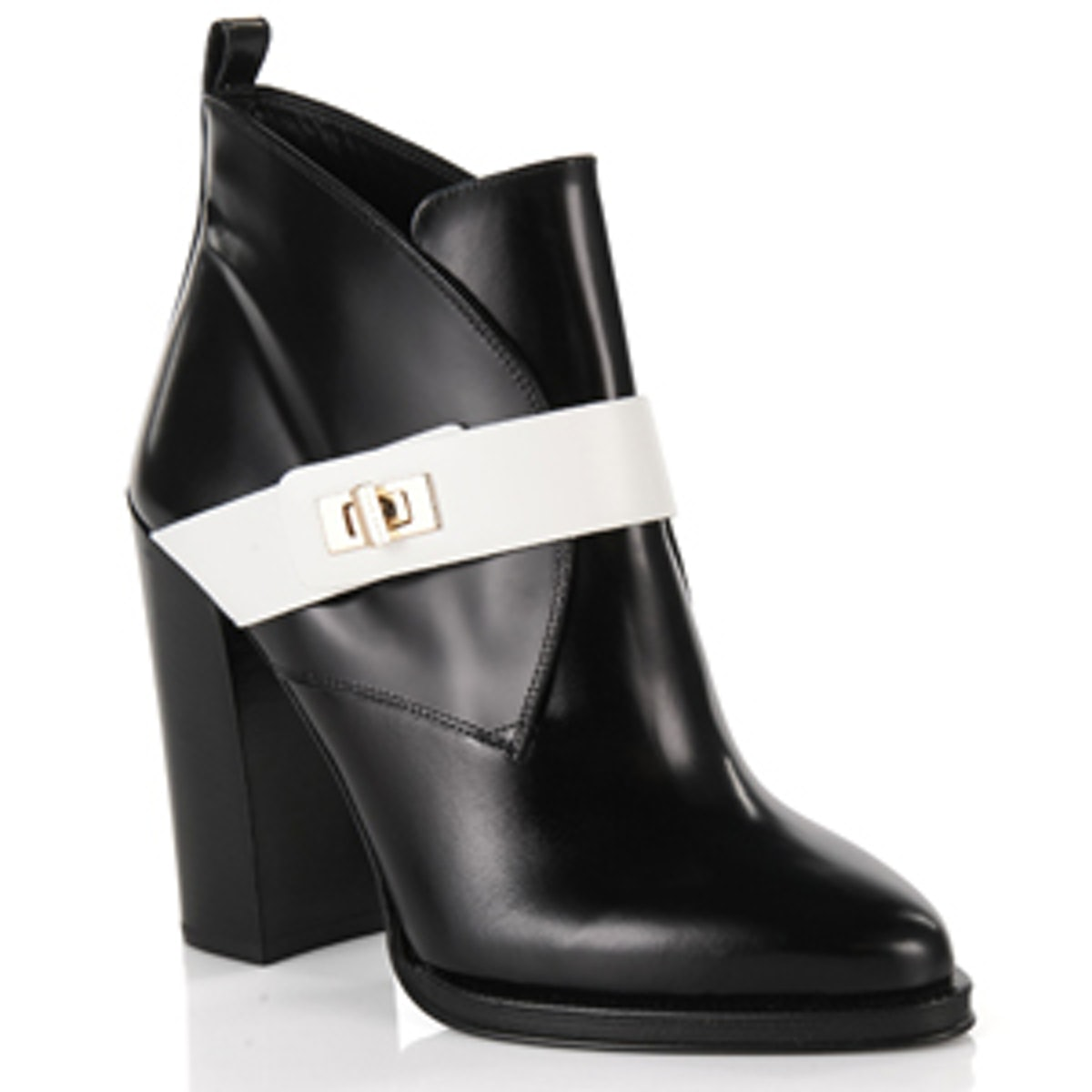 Black and White Leather Turnlock Boots