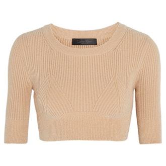 Cropped Ribbed Knitted Top
