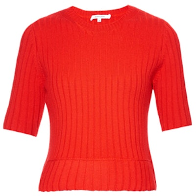 Wool-Blend Ribbed-Knit Sweater