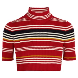 Cropped Striped-Wool Top