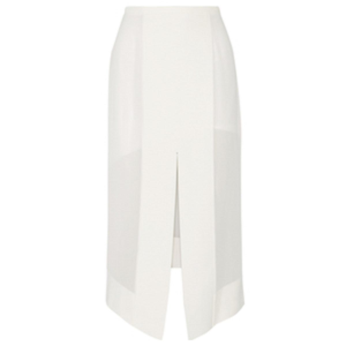 Paneled Tech-Jersey and Chiffon Midi Skirt