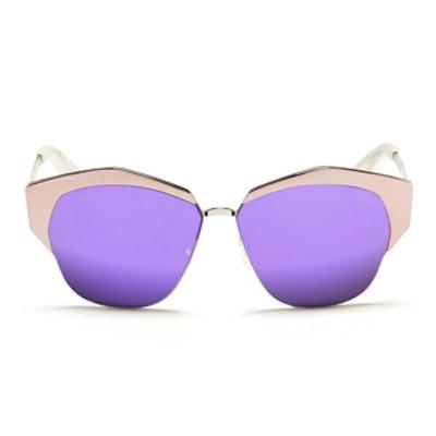 Mirrored' Contrast Metal Angled Cat Eye Sunglasses