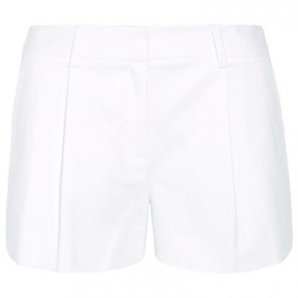 Naples Pleated Stretch Cotton Shorts in White