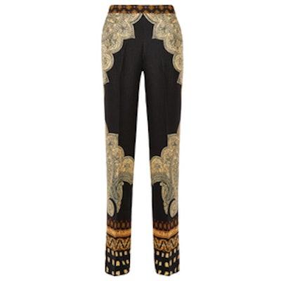 Printed Silk-Cloqué Wide-Leg Pants
