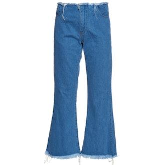 Capri Frayed-Edge Flared Jeans