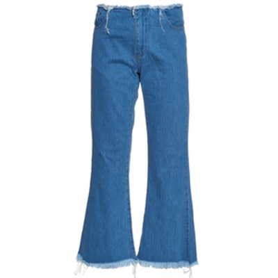 Capri Frayed-Edge Flared Jeans