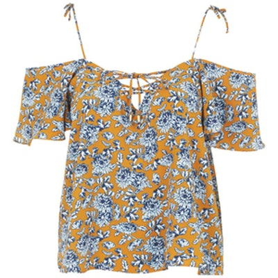 Lattice-Front Floral Bardot Top
