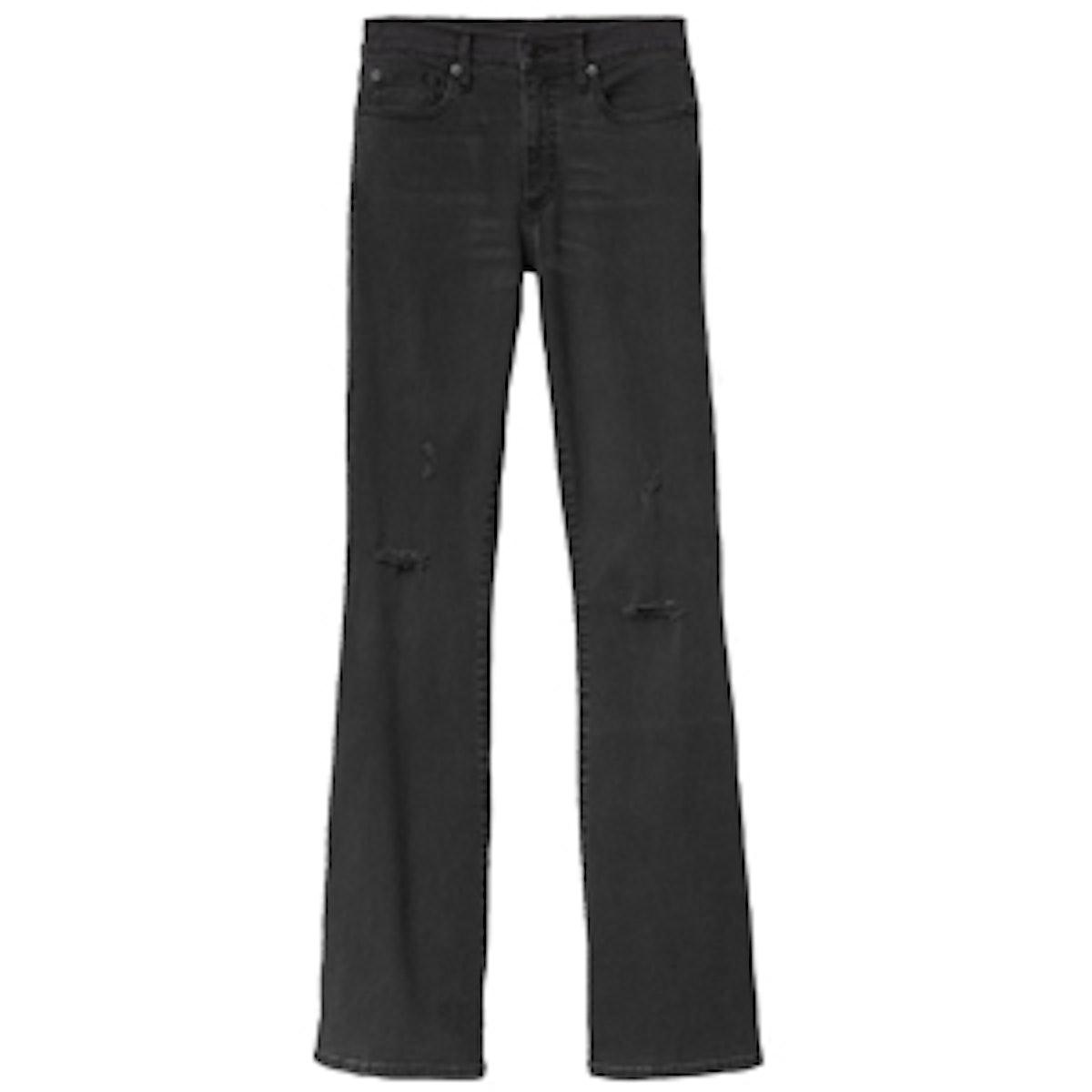 Resolution Destructed Black Skinny Flare Jeans