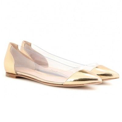 Metallic Leather and Transparent Ballerinas