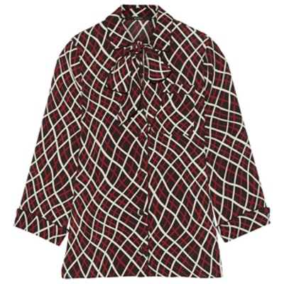 Pussy-Bow Printed Silk-Crepe Blouse