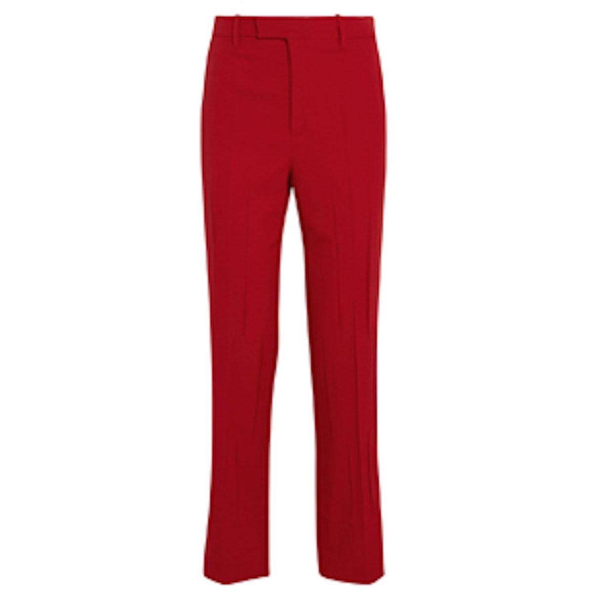 Stretch Wool and Silk-Blend Straight-Leg Pants