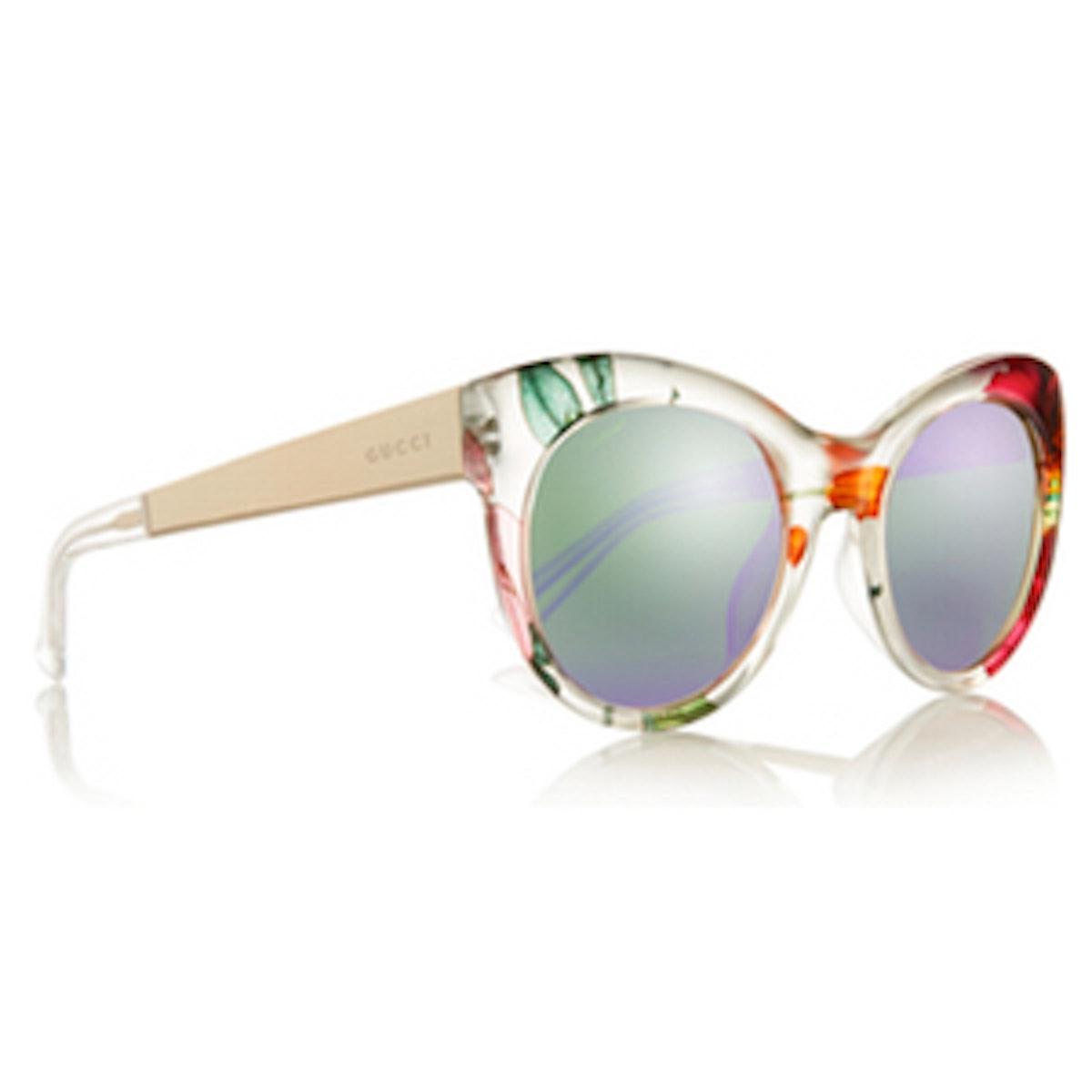 Cat-Eye Printed Acetate and Metal Mirrored Sunglasses