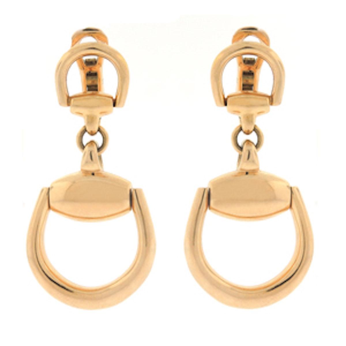 Vintage Horsebit Earrings in 18K Gold