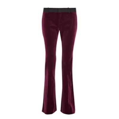 Mid-rise velvet flared pants