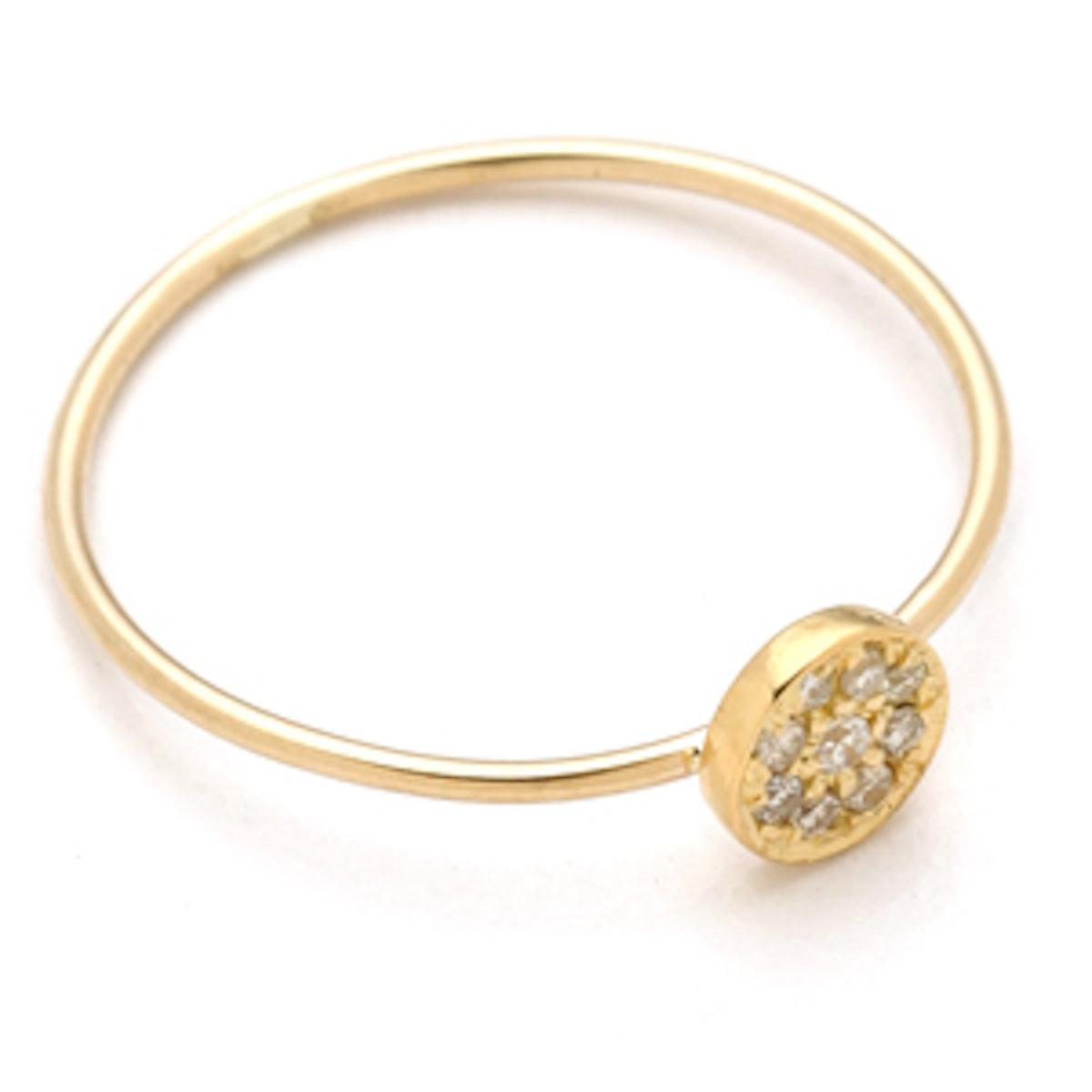 18k Gold Circle Diamond Ring