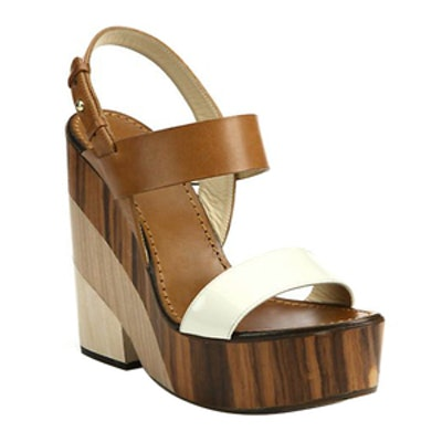 Wooden-Heeled Leather Sandals