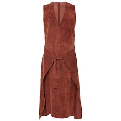 Sleeveless Suede Wrap Dress