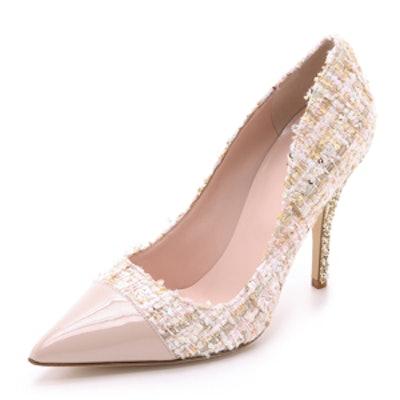 Lacy Tweed Glitter Heel Pumps
