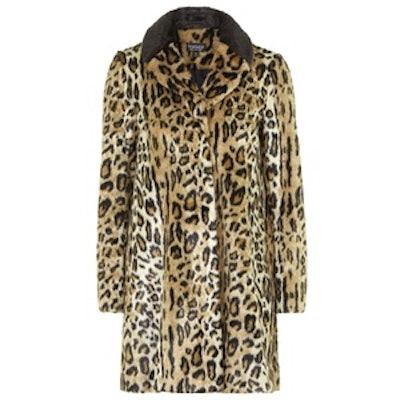 Faux Fur Animal Print Swing Coat