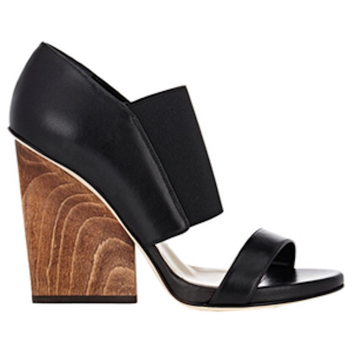 Wooden Wedge-Heel Sandals