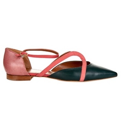 Veronica Leather And Snakeskin Flats