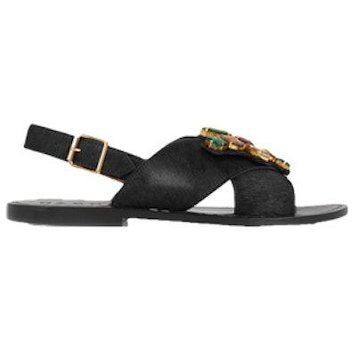 Crystal-Embellished Calf Hair Slingback Sandals