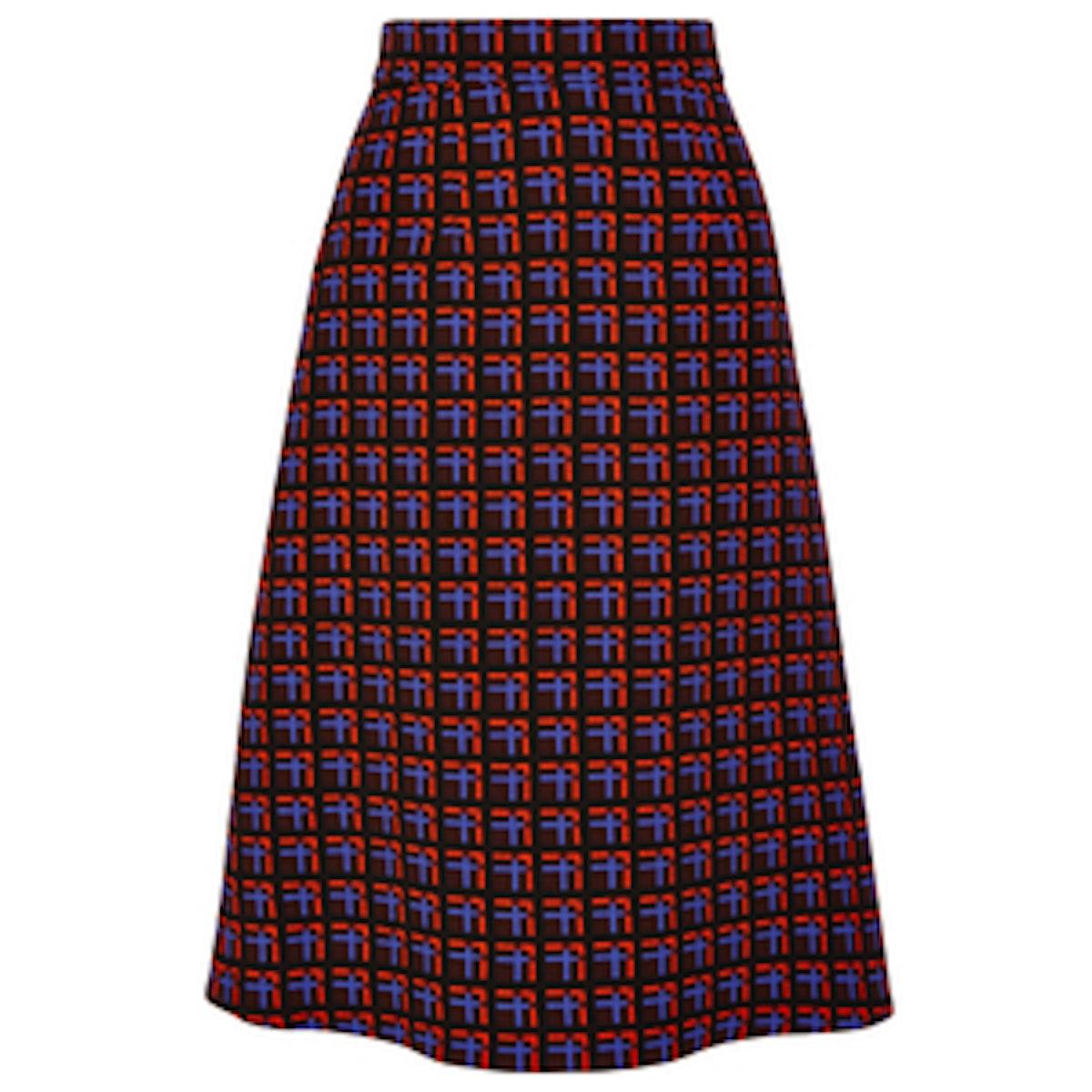 Checked Wool-Crepe Skirt
