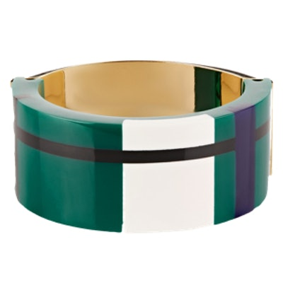 Gold-Plated Resin And Leather Bracelet