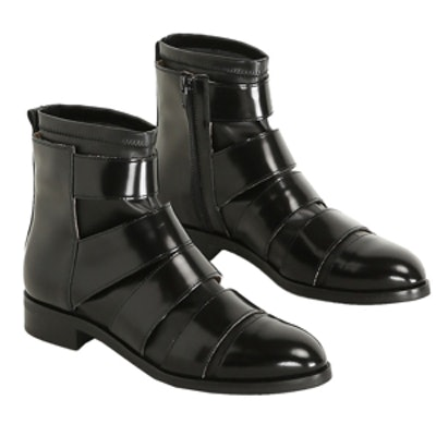 Black Leather Strap Pull On Boot