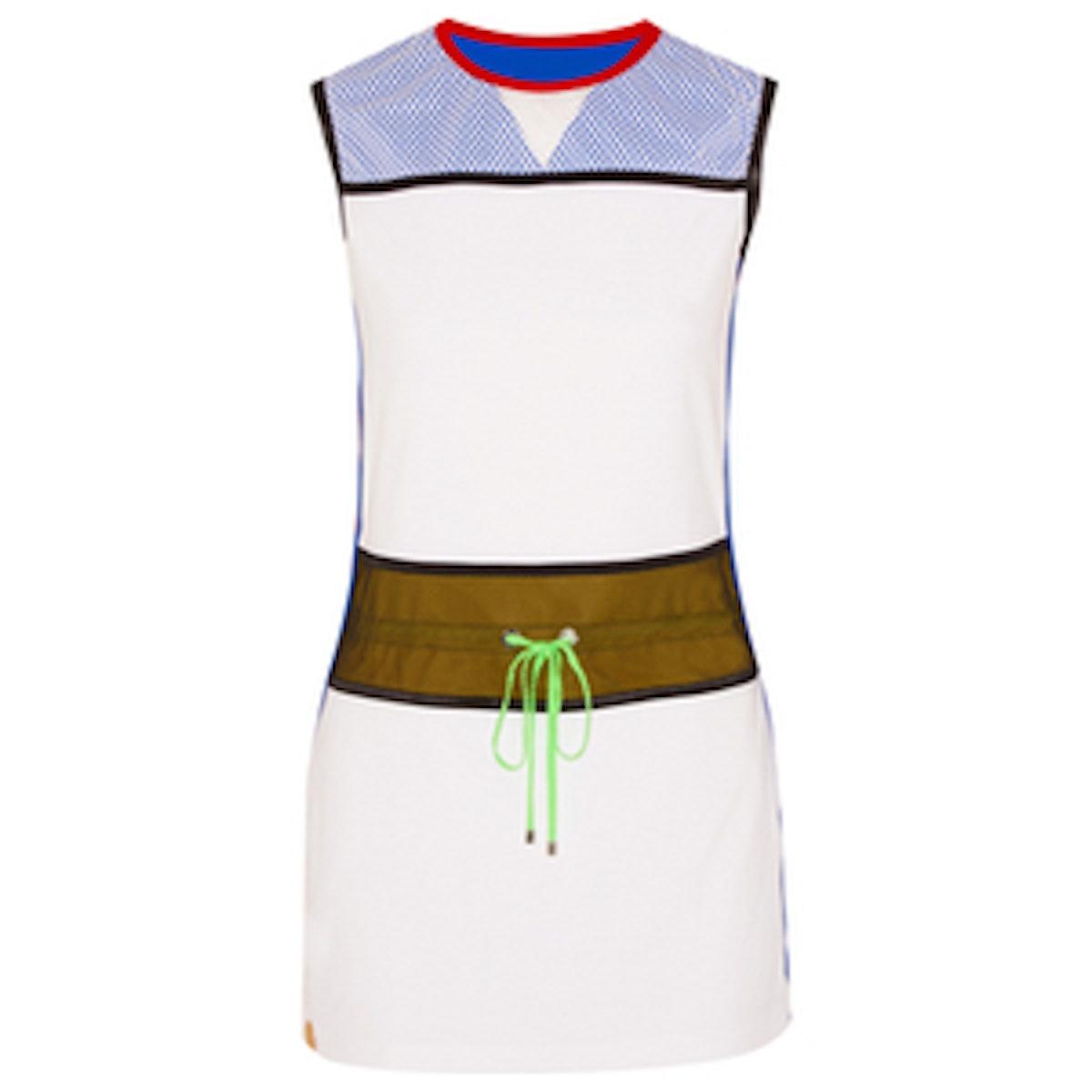 Mesh-paneled stretch-jersey dress