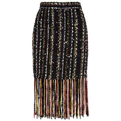 Fringed Embellished Bouclé-Tweed Skirt