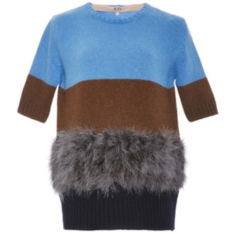 Wool and Mohair Short Sleeved Sweater with Fur Bottom