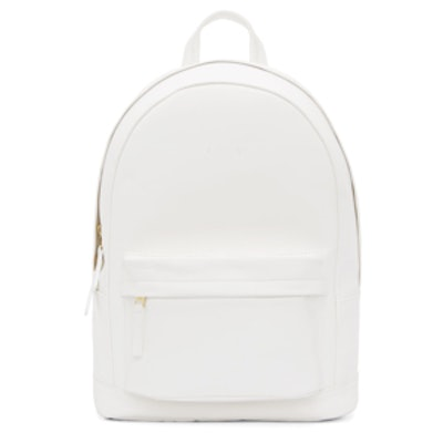Matte White Small Leather Backpack