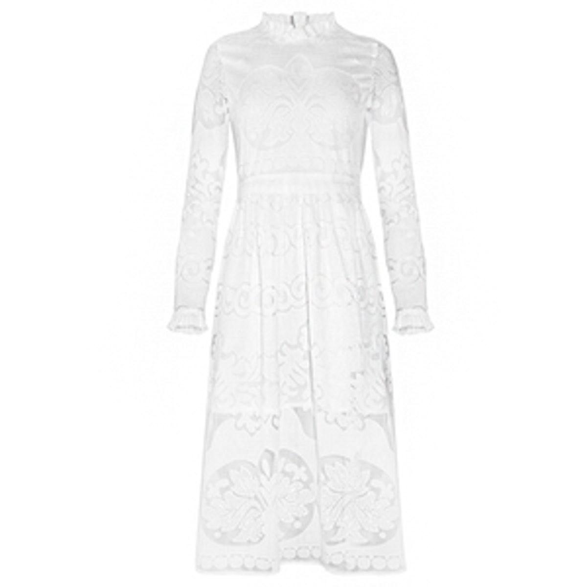 High Neck Lace Midi Prairie Dress