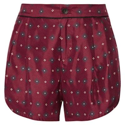 Gabrielle Printed Silk-Twill Shorts