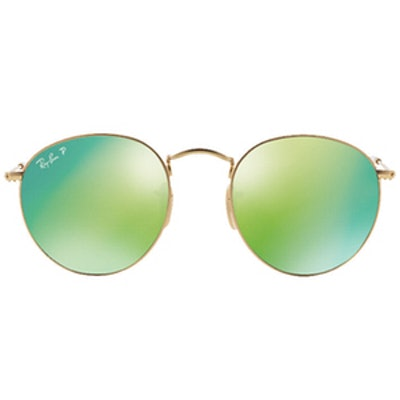 Polarized Round Metal Sunglasses in Gold/Green