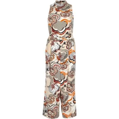 Beige-Print Culotte Jumpsuit