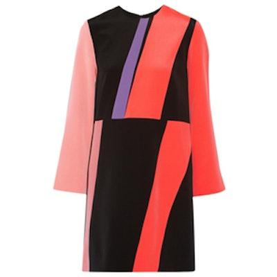 Color-Block Silk Crepe De Chine Mini Dress